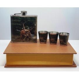 Flaska szett - Szarvas, könyv alakú dobozban