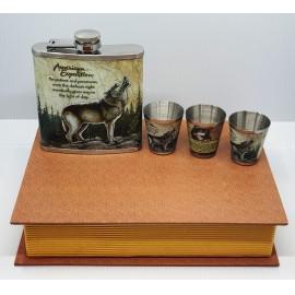Flaska szett - Farkas, könyv alakú dobozban