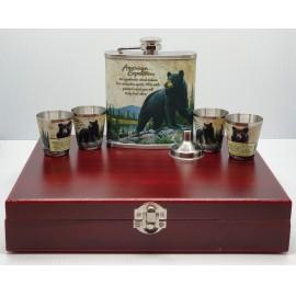 Flaska szett - Medve, fa díszdobozban